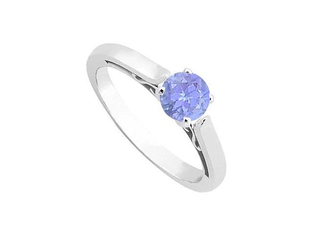 Tanzanite Solitaire ring in 14K White Gold 0.50 Carat TGW