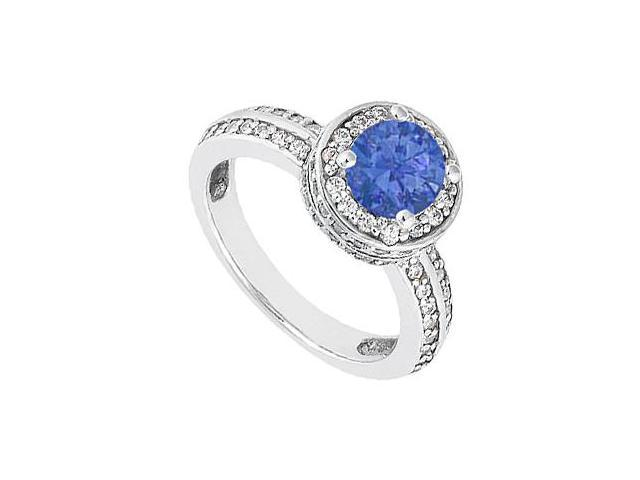 14K White Gold 1 Carat Diamond and Blue Natural Sapphire Engagement Ring