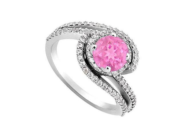 Created Pink Sapphire and Cubic Zirconia Engagement Rings in 14kt White Gold 1.10.ct.tgw