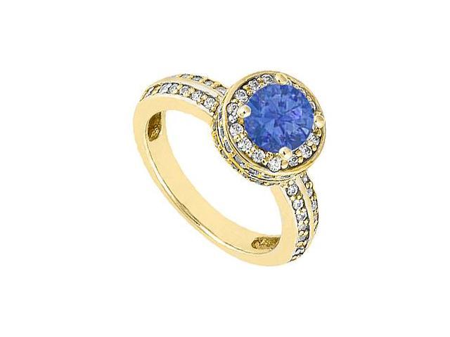 14K Yellow Gold 1 Carat Diamond and Blue Natural Sapphire Engagement Ring