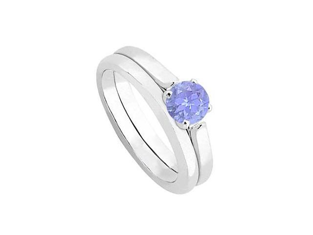 Tanzanite Solitaire Wedding and Engagement Ring Set in 14kt White Gold 0.50.ct.tw