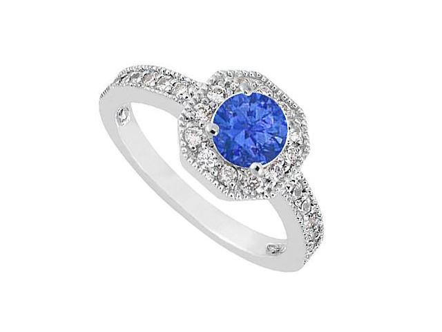14K White Gold Diamond Milgrain Engagement Ring with Blue Sapphire of 0.85 Carat TGW