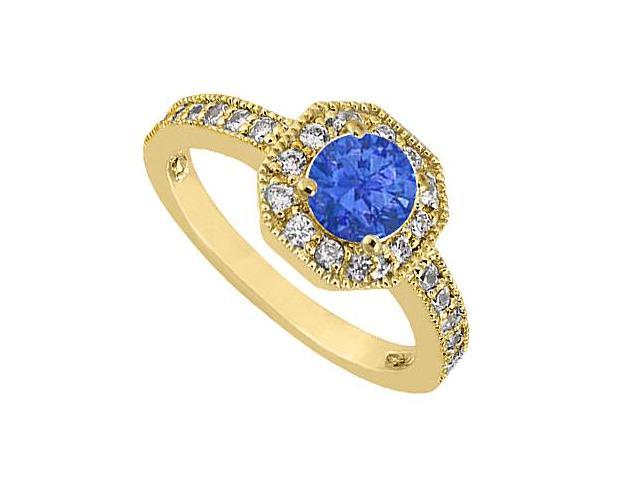 14K Yellow Gold Diamond Milgrain Engagement Ring with Blue Sapphire of 0.85 Carat TGW