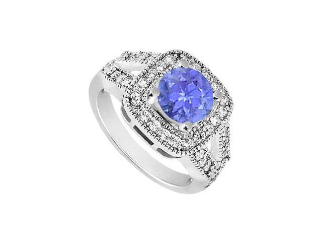 Split Shank Created Tanzanite and CZ Engagement Ring in 14K White Gold 1.50.ct.tw