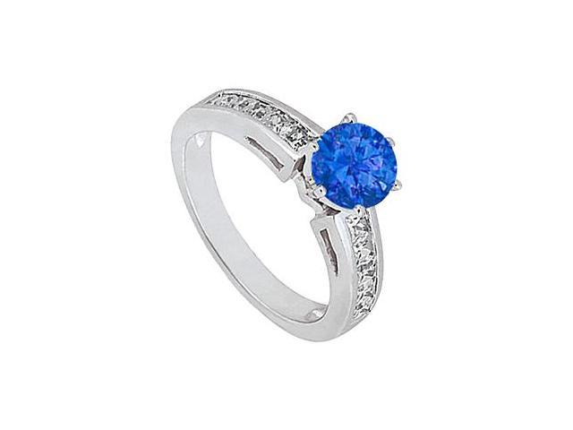 Natural Blue Sapphire and Diamond Engagement Ring in 14K White Gold 1.50 Carat Totaling
