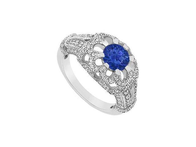 September birthstone Created Sapphire and CZ Floral Design Engagement Ring 14K White Gold