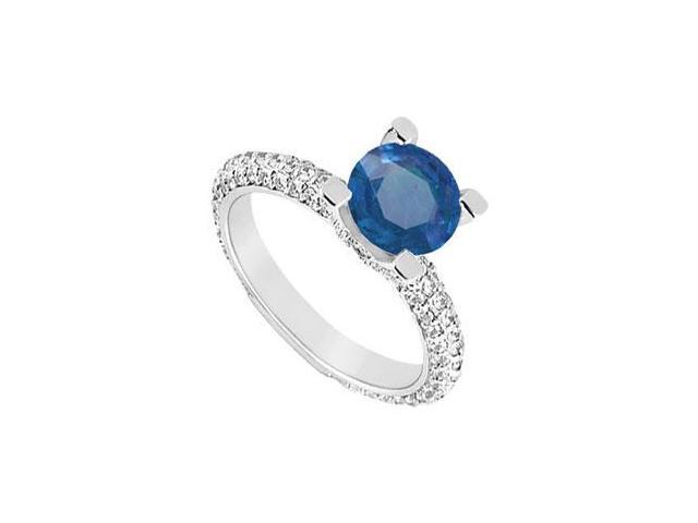 September Birthstone Created Sapphire and CZ Engagement Ring in 14K White Gold 1.50 ct.tgw