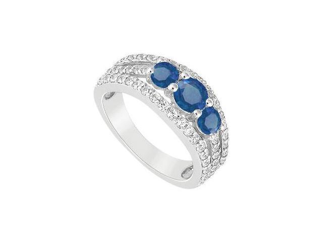 Three Stone Engagement Ring with Created Sapphire and CZ in 14K White Gold 2.25.ct.tgw