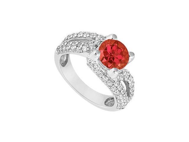 Ruby and Diamond Engagement Ring  14K White Gold - 1.00 CT TGW