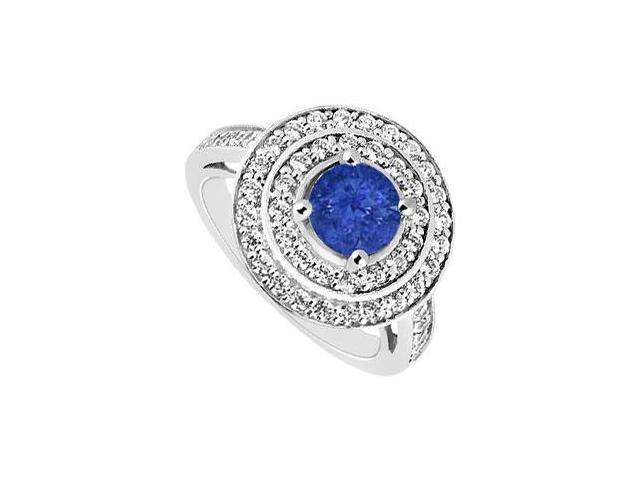 September Birthstone Created Sapphire Halo Engagement Rings in 14K White Gold 1.00.ct.tgw