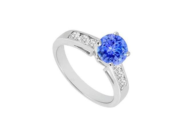 Created Tanzanite and Cubic Zirconia Engagement Rings in 14K White Gold 1.00.ct.tgw