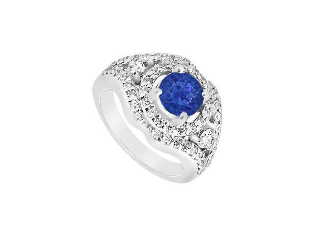 September Birthstone Created Sapphire and CZ Wide Band Engagement Rings 14K White Gold 1.50.ct.t
