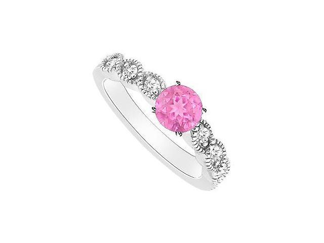 Pink Sapphire and Diamond Engagement Ring  14K White Gold - 0.35 CT TGW