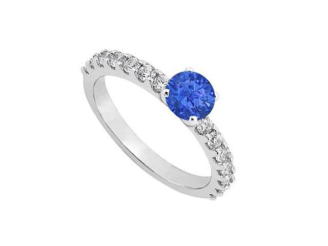 September Birthstone Sapphire  Diamond Engagement Rings 14K White Gold 1.00 CT TGW