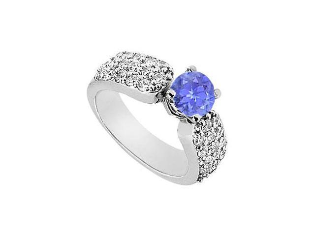 Wide Shank Multi-Row Created Tanzanite and CZ Engagement Ring in 14kt White Gold 2.00.ct.tgw