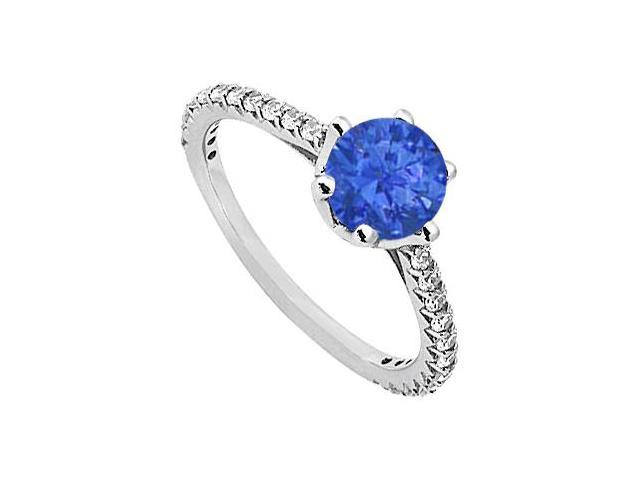 September Birthstone Sapphire  Diamond Engagement Rings 14K White Gold 1.33 CT TGW