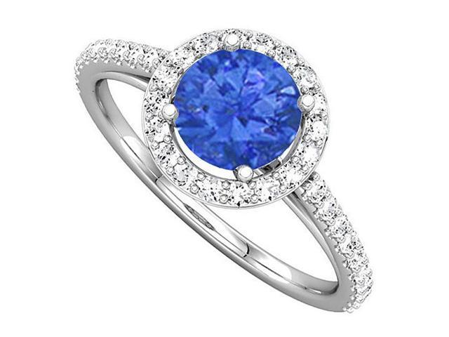 Halo Engagement Rings with Sapphire  CZ in 14K White Gold 1.50 CT TGW