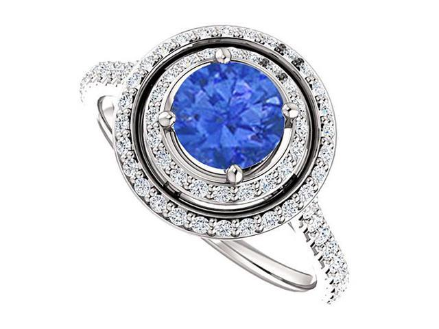 Halo Engagement Rings with Sapphire  CZ in Double Halo 14K White Gold 1.75 CT TGW