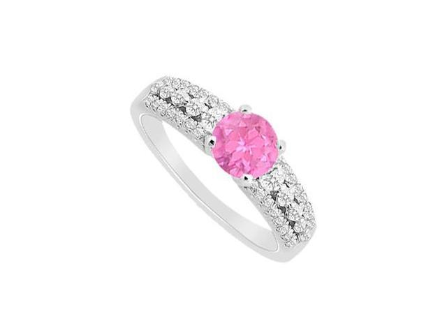 September birthstone Created Pink Sapphire  CZ Engagement Rings in 14K White Gold 1.00.ct.tgw