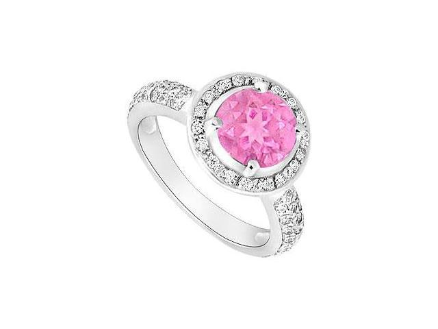 Pink Sapphire and Diamond Halo Engagement Ring  14K White Gold - 1.50 CT TGW