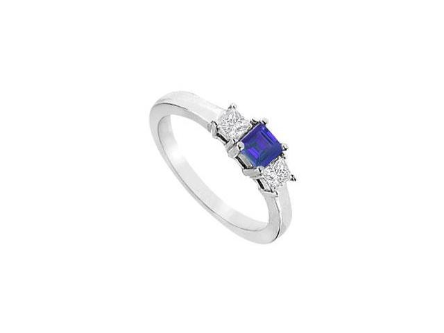 14k white gold three stone created sapphire with triple AAA quality cz ring  ring one carat tgw