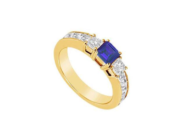 Blue Sapphire and Diamond Ring  14K Yellow Gold - 1.00 CT TGW