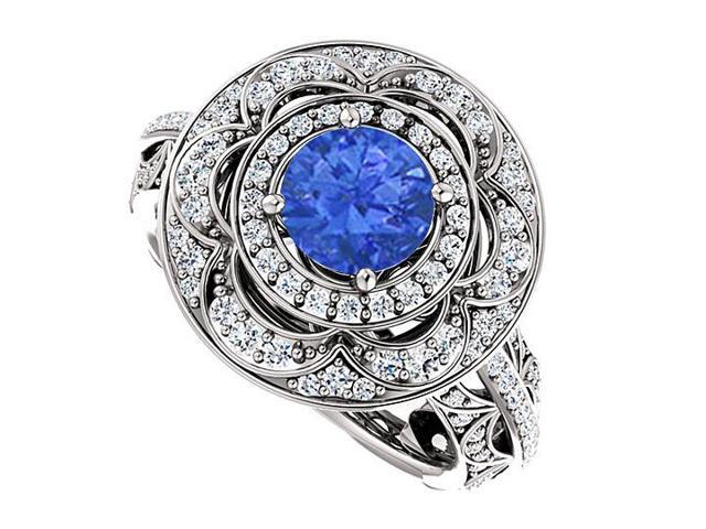 Halo Engagement Rings with Sapphire  CZ Double Halo in 14K White Gold 2.00 CT TGW