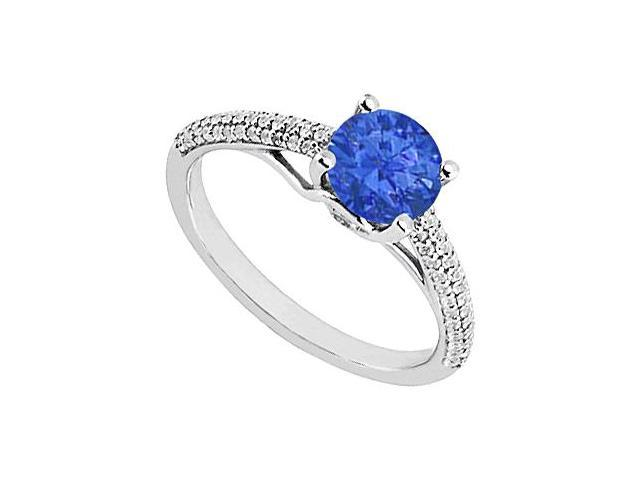 Sapphire and Diamond Engagement Ring in 14K White Gold 1.00 ct.tgw