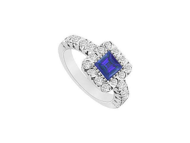 Square Created Sapphire and CZ Halo Engagement Ring in 14K White gold 1.25.ct.tgw