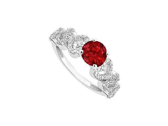 Ruby and Diamond Engagement Ring  14K White Gold - 0.55 CT TGW