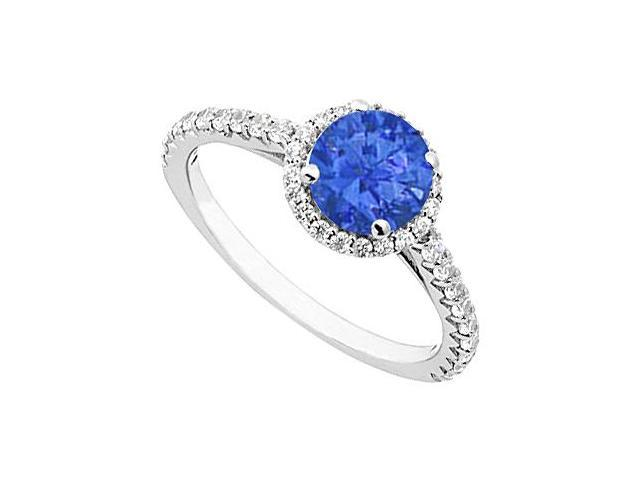 Sapphire and Diamond Halo Ring in 14K White Gold 1.00.ct.tgw