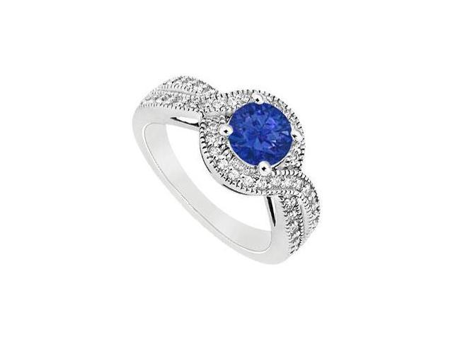 September Birthstone Created Sapphire and CZ Halo Engagement Rings in 14K White Gold 1.00.ct.tgw