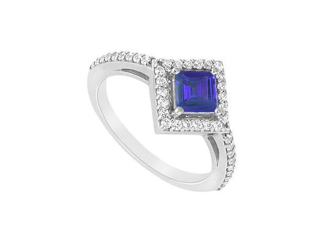 September Birthstone Square Created Sapphire and CZ Halo Engagement Ring 14K White gold 1.ct.tgw