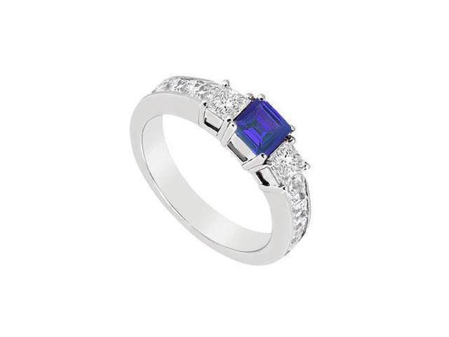 Blue Sapphire and Diamond Ring  14K White Gold - 1.25 CT TGW