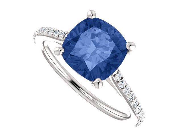 September Birthstone Created Sapphire Engagement Rings in 14kt White Gold 3.75 CT TGW