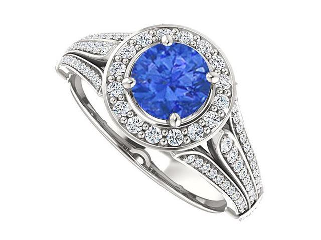 Split Shank Halo Engagement Rings with CZ  Sapphire  in 14K White Gold 1.50 CT TGW