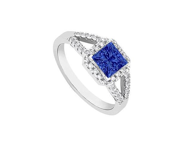 Square Sapphire and Diamond Halo Ring in 14K White Gold 1.00.ct.tgw