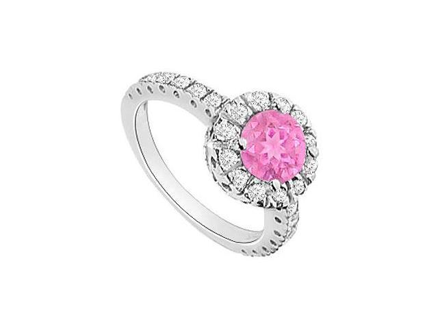 Pink Sapphire and Diamond Halo Engagement Ring  14K White Gold - 1.30 CT TGW