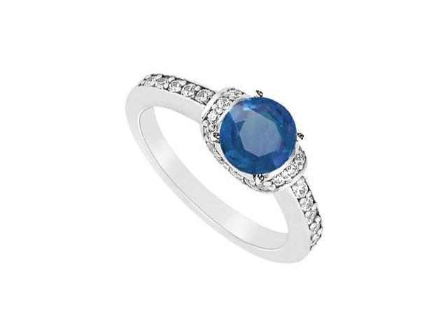 September Birthstone Created Sapphire and Cubic Zirconia Engagement Rings in 14K White Gold