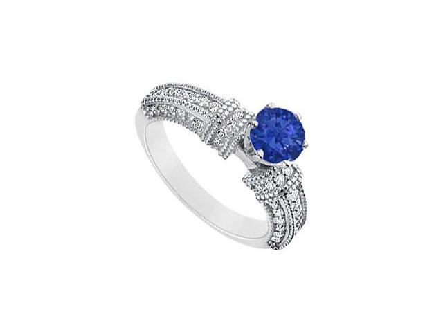 September Birthstone Round Created Sapphire and CZ Filigree Engagement Rings 14K White gold