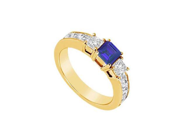 Blue Sapphire and Diamond Ring  14K Yellow Gold - 1.25 CT TGW