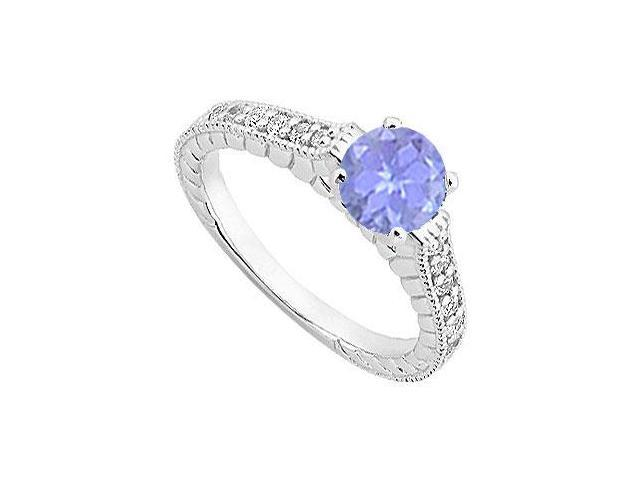 Created Tanzanite and Cubic Zirconia Milgrain Engagement Ring in 14K White Gold 1.00.ct.tgw