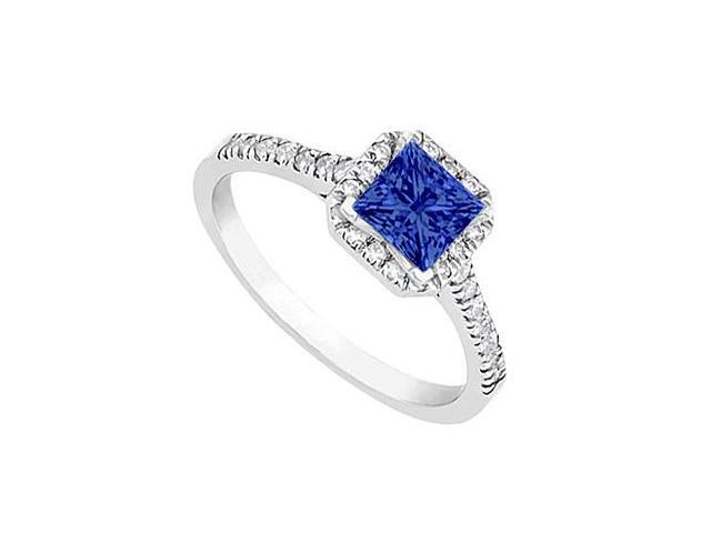 Sapphire and Diamond Halo Engagement Ring in 14kt White Gold 1.00.ct.tgw
