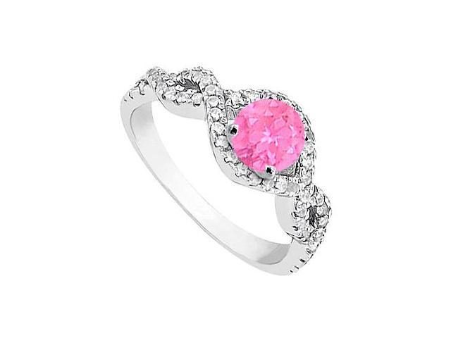 Created Pink Sapphire and Cubic Zirconia Halo Engagement Rings in 14K White Gold 1.00.ct.tgw