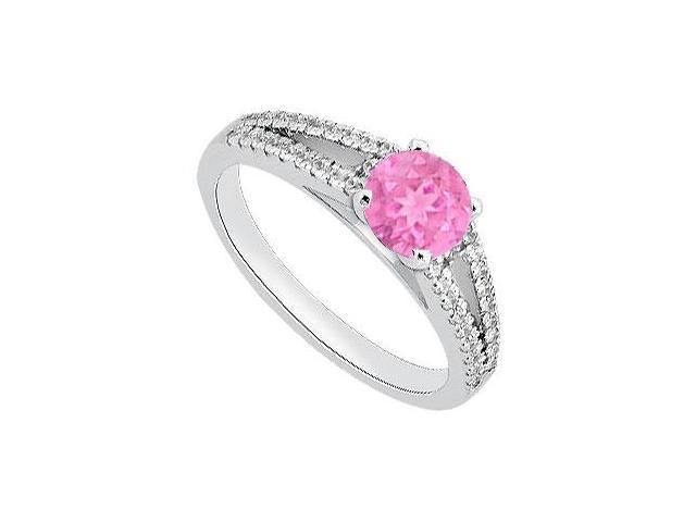 September Birthstone Created Pink Sapphire  CZ Engagement Rings 14K White Gold 1.05.ct.tgw