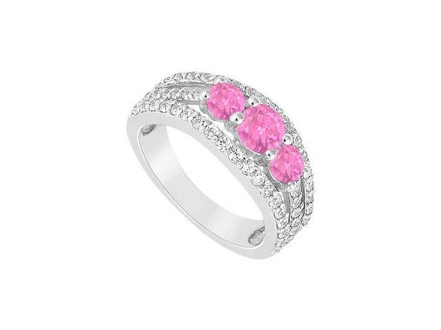 Created Pink Sapphire  CZ Three Stone Engagement Rings in 14K White Gold 2.25.ct.tgw