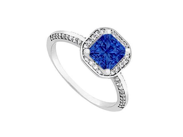 Halo Engagement Ring Princess cut Sapphire in White Gold 14k 1 ct tgw