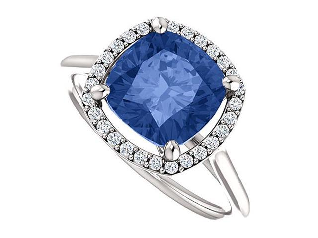 Halo Engagement Rings with CZ  Created Sapphire in 14K White Gold 3.75 CT TGW