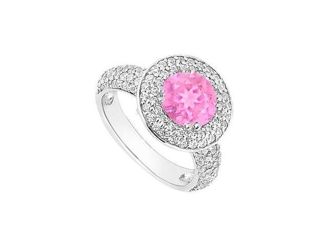 Pink Sapphire and Diamond Halo Engagement Ring  14K White Gold - 2.00 CT TGW