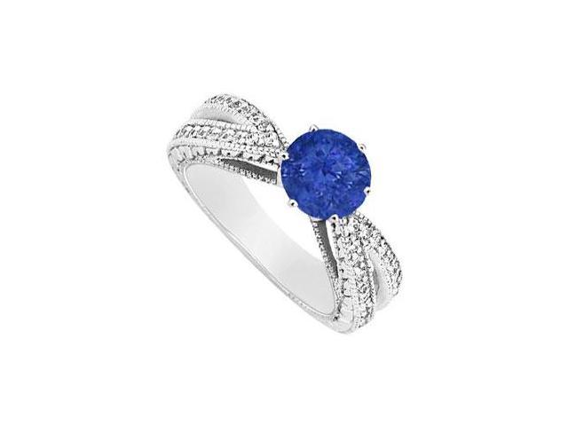 September Birthstone Created Sapphire and CZ Motif Engagement Ring 14K White Gold 1.50 ct.tgw